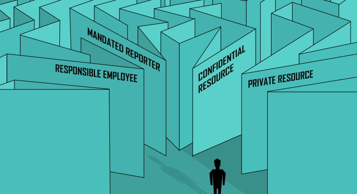 """A person stands at the front of a maze, with pathways to """"responsible employee"""", """"mandated reporter"""", """"confidential resource"""", and """"private resource""""."""