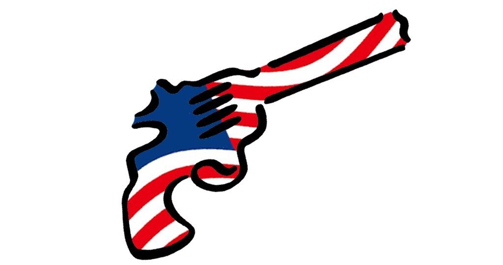 An icon of a handgun with the colors of the American flag worked into it.