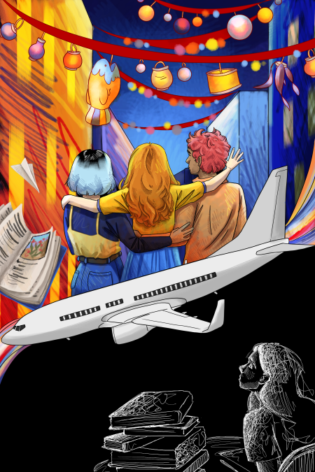 A plane divides the scene: three students look out to a view of city lights on the top, while at the bottom is a student studying in black and white.