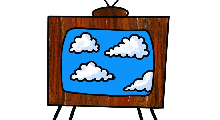 An old TV displays clouds and sky across the screen.