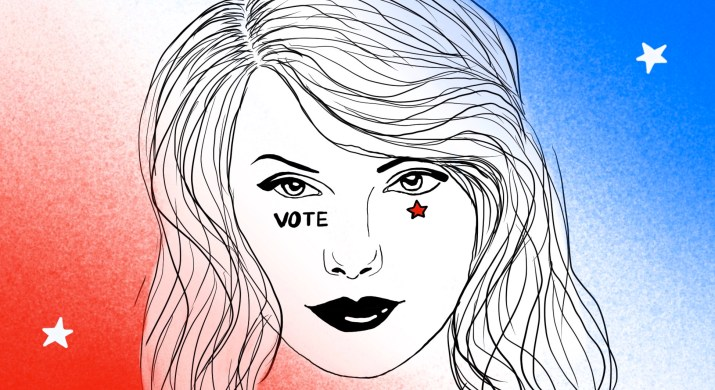 """An image shows Taylor Swift with a star and """"vote"""" on her cheek, against a red, blue and white background of stars."""