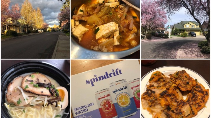 Three plates of food, two streets and one sparkling water box are in a collage.