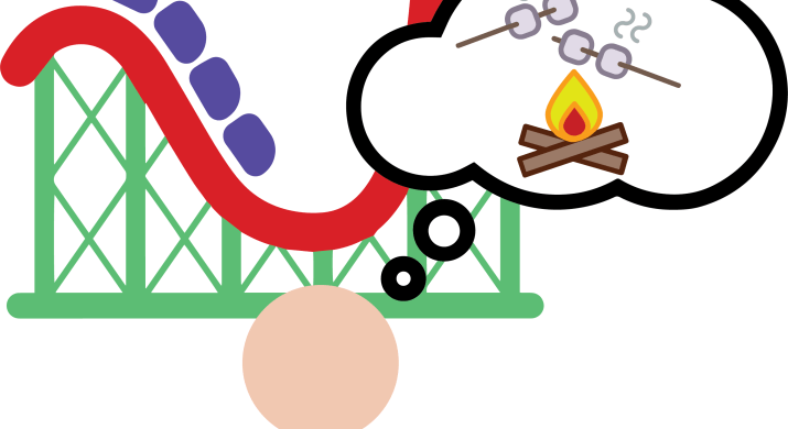 A graphic of a person standing in from of a roller coaster. The person is thinking of roasting marshmallows over a campfire.