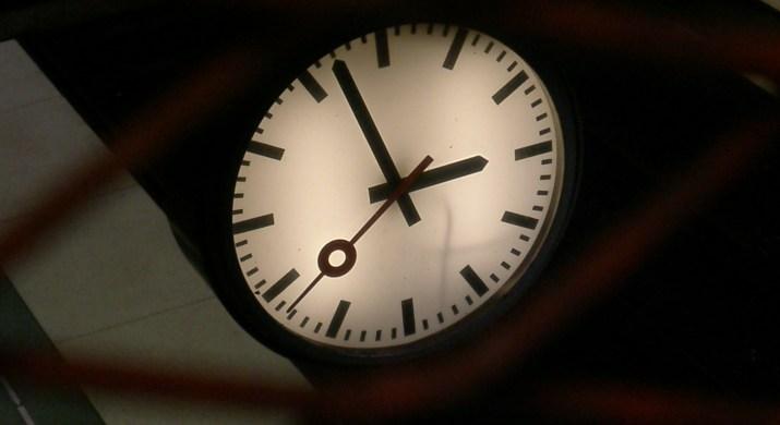 a clock at night