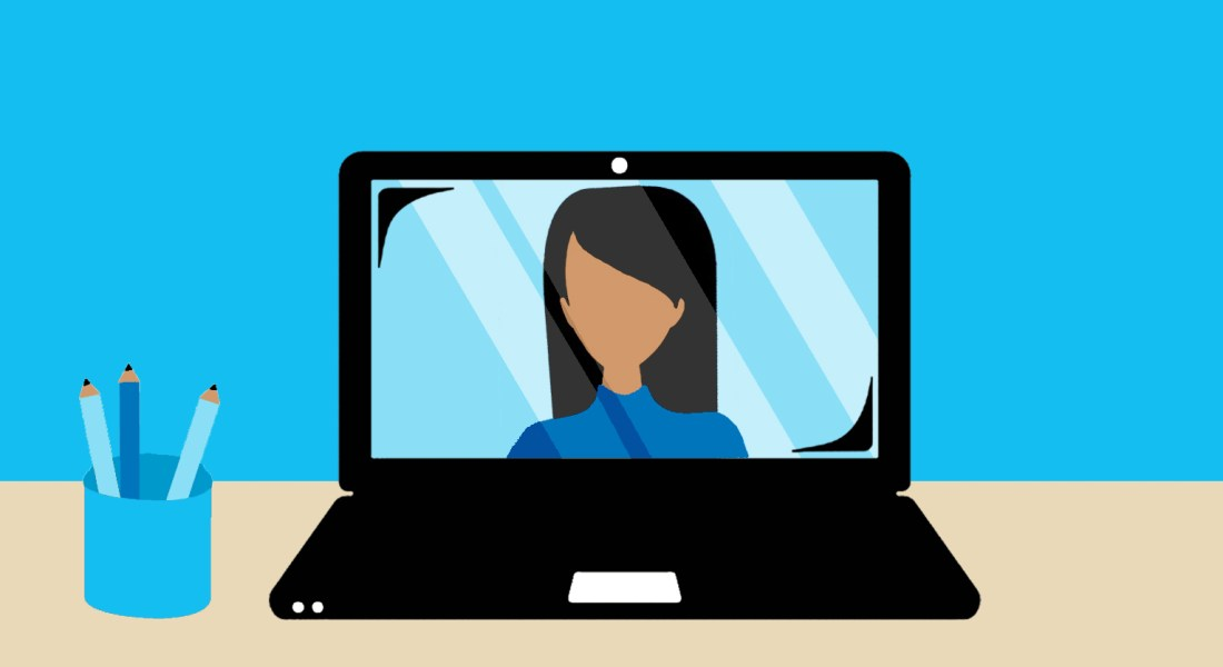A drawing of a laptop sitting on a desk. The screen is open, showing a video call with a person with brown skin and long black hair. There is a container of pens and pencils next to the laptop.