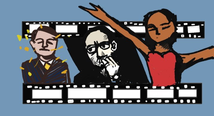 An illustration of a segment of a roll of film. In each window, there are three characters: a man in a blue suit being showered with gold confetti, a man with his hand to his mouth and furrowed brows, and a woman in a red top with her arms outstretched upwards.