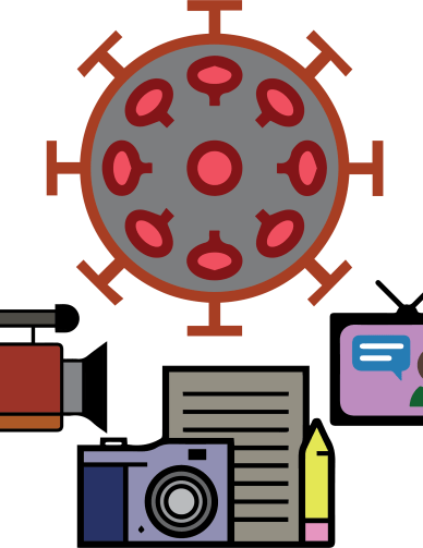 an image composed of several icons. there is an icon of the SARS-CoV-2 virus at the top of the image. at the bottom, from left to right, are icons of a video camera, a still photo camera, a pad of paper and pencil, and a news reporter speaking on a TV.