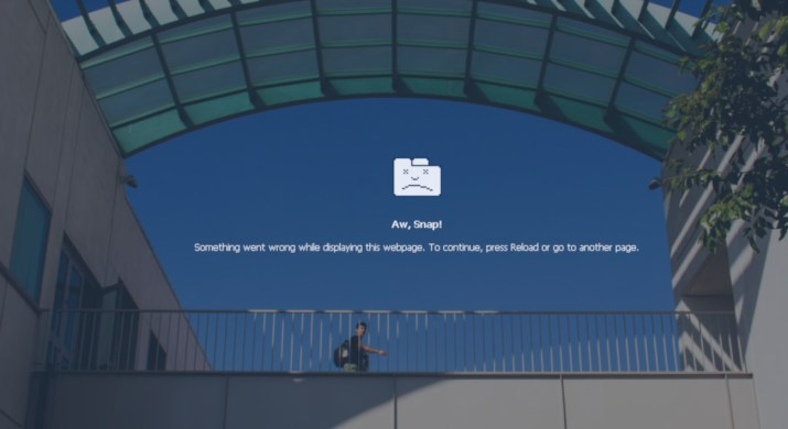"""the Keck Science Center exterior overlaid with an error message: """"Aw snap! Something went wrong while displaying the webpage. To continue, press reload or go to another page."""""""