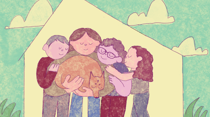 A cartoon family of four embrace in a group hug. The second person to the left side of the image is holding a brown, sleeping dog. Around the embracing family is the outline of a house, and outside the outline are a cyan sky, white puffy cartoon clouds, and green blades of grass on the ground.