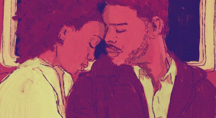 An illustration of a couple: a Black man in a jacket leans his forehead on a Black woman in a white shirt. both have their eyes closed