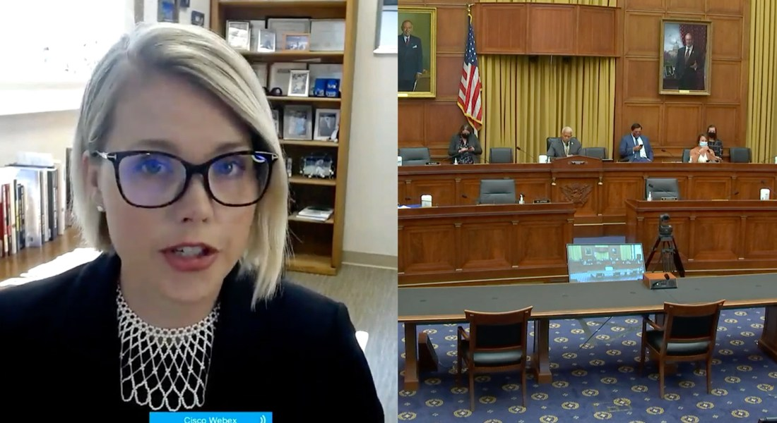 Two images appear on a split-screen. On the left is a female professor speaking on zoom, and on the right is the House Judiciary Committee meeting.