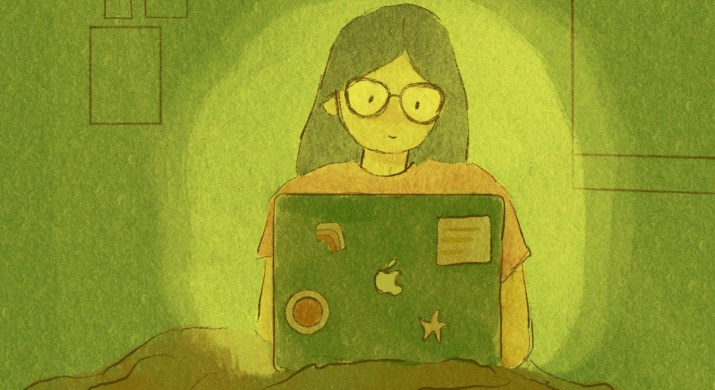 An illustration of a girl sitting under a blanket watching television from her laptop. A glow surrounds her.