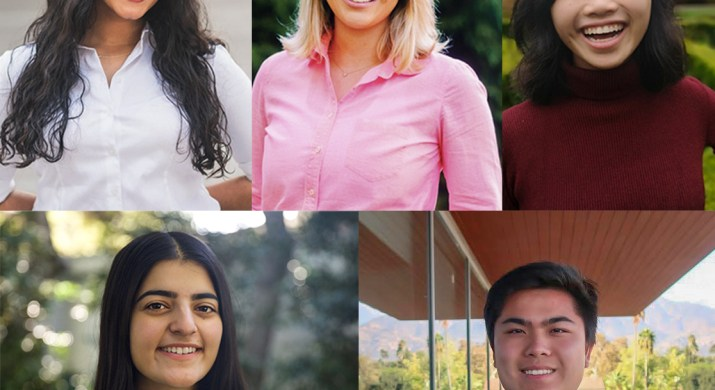 A composite image of 5 college age students.