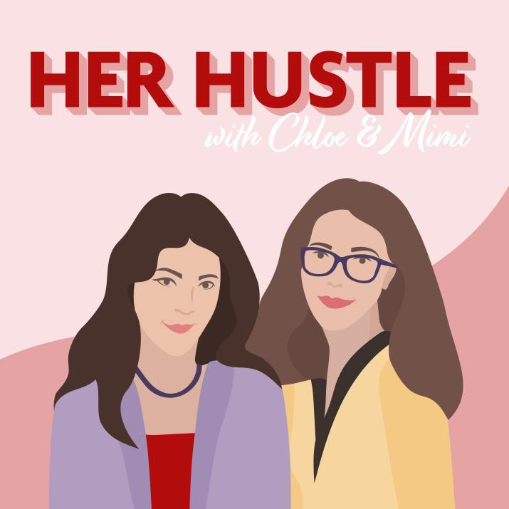 A graphic displays the cartoon renderings of two female college students. Writing above them reads 'Her Hustle with Chloe and Mimi.'
