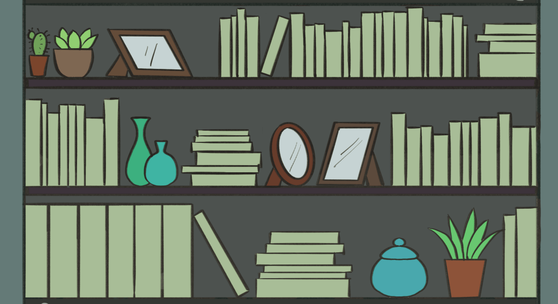 A drawing of a zoom bookshelf background.
