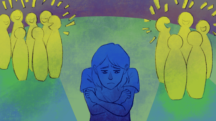 An illustration of a sad girl who is excluded by cliques of her peers.