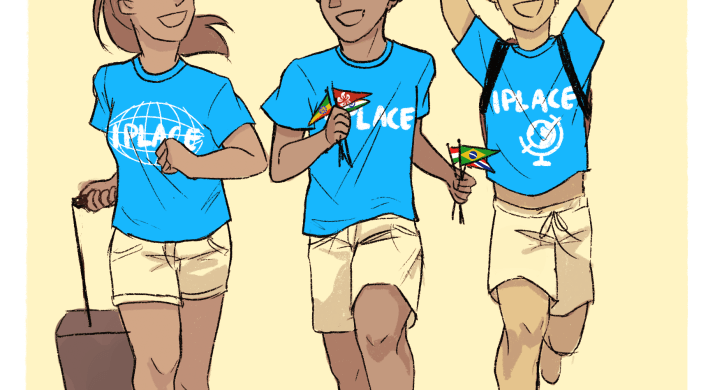 3 international students running together and holding flags in their hands, one with a suitcase, all wearing I-Place shirts