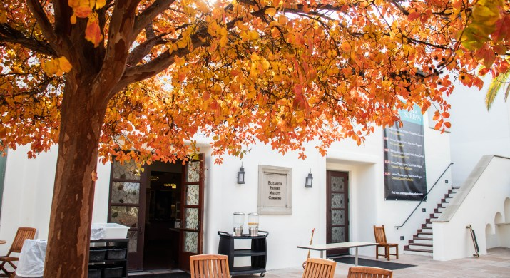 A table outside of a building is under a tree with orange leaves.