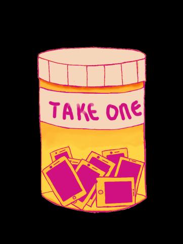 An illustration of instagram as a schedule II drug bottle.