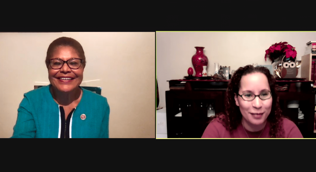 A composite image of two women speaking on a Zoom call.