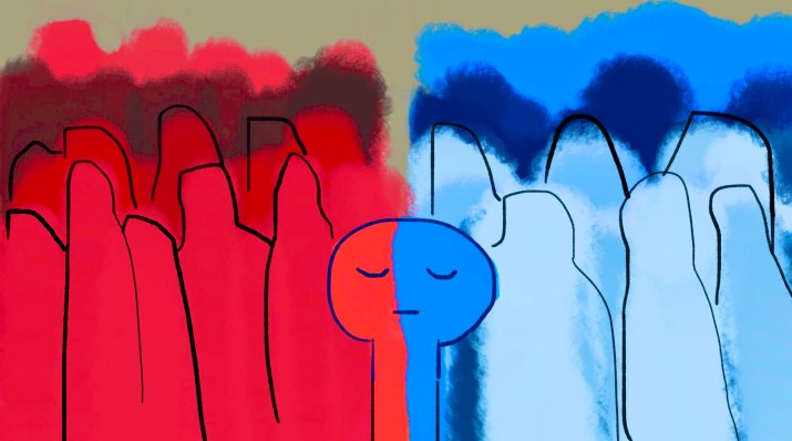 A group of people divided in half, one half red, one half blue, representing their political beliefs.