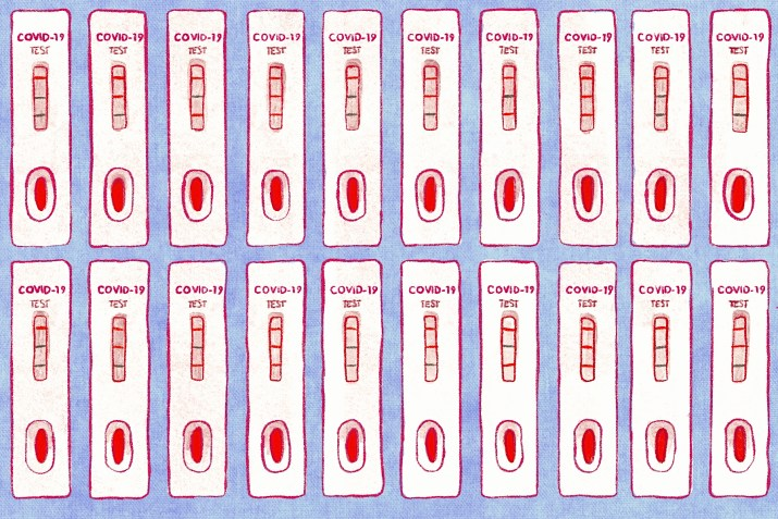 A graphic of two rows of COVID-19 test strips.