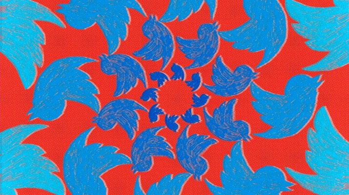 A red background with a spiral of birds the shape and blue color of the Twitter logo.