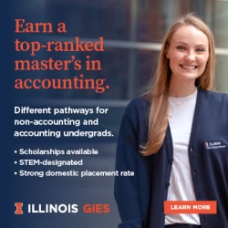 A woman smiles at the camera. Text atop reads: Earn a top-ranked master's in accounting. Illinois GIES