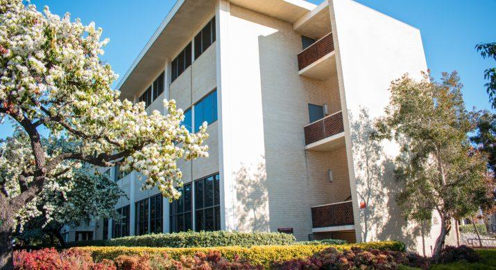Claremont McKenna's Bauer Center in spring daytime