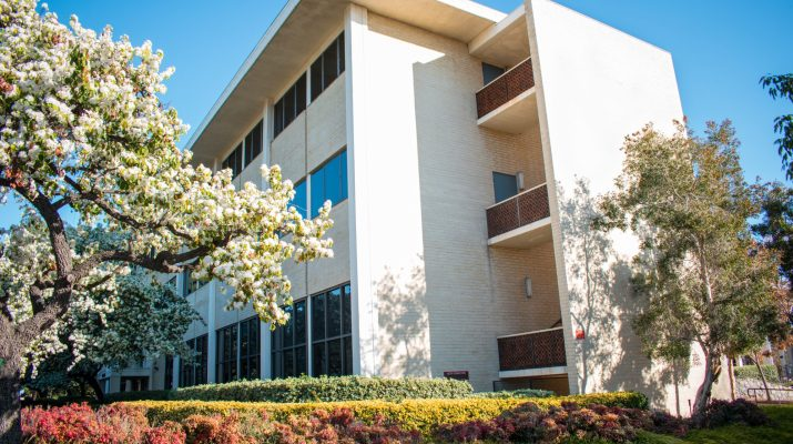 Claremont McKenna's Bauer Center in spring daytime
