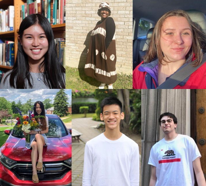 Six students pose in front of colorful backgrounds and smile at the camera.