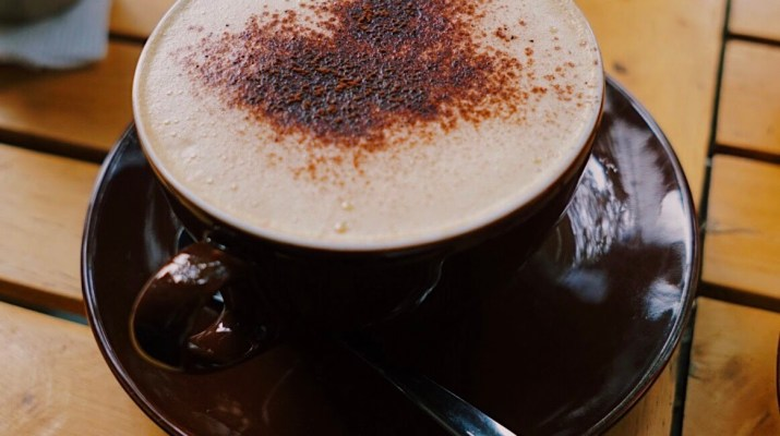 A latte with cinnamon on top.