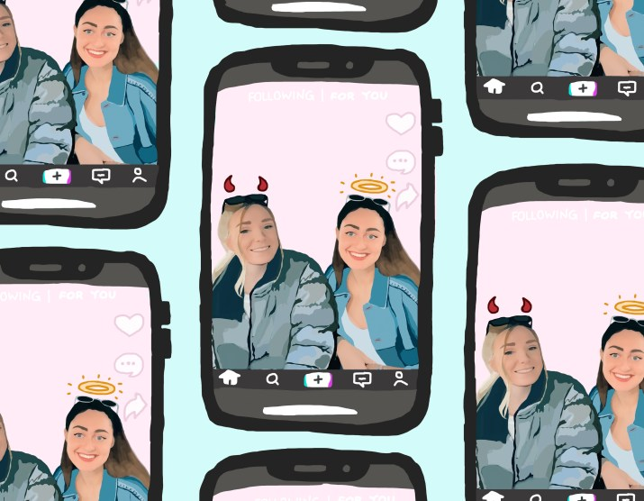 A series of phones with a TikTok page of two girls, one with devil's horns and one with a halo