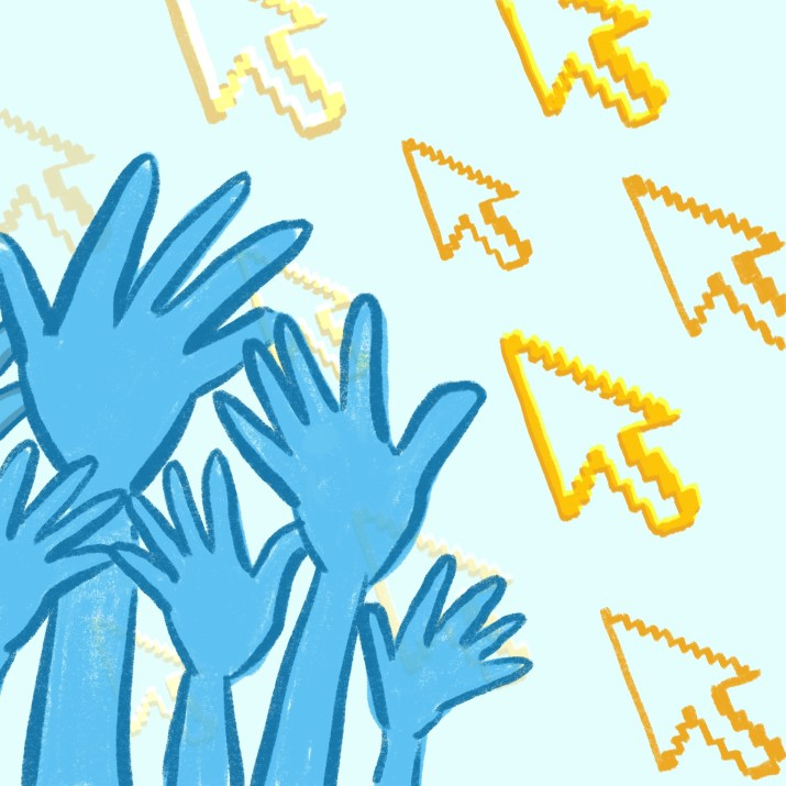 A series of hands reaching for a sky with a mouse cursor pattern