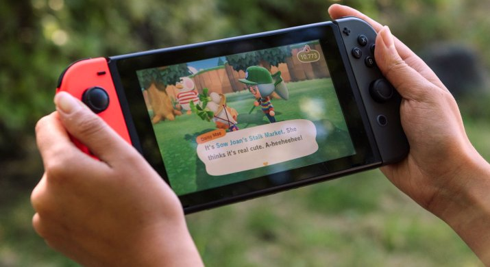 A person holds up a Nintendo Switch while playing Animal Crossing.