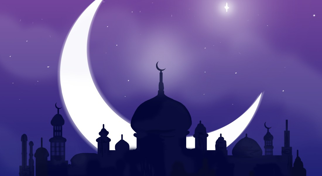 A crescent moon and star in a purple blue sky behind multiple buildings