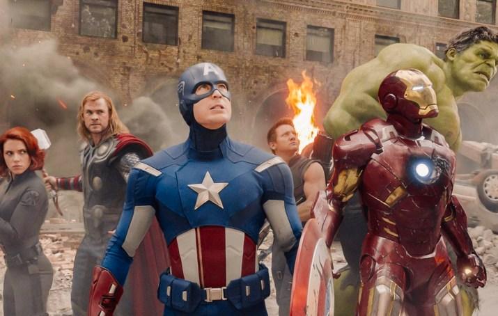 An Avengers movie scene shot featuring the Black Widow, Thor, Captain America, Hawkeye, Iron Man and the Hulk.