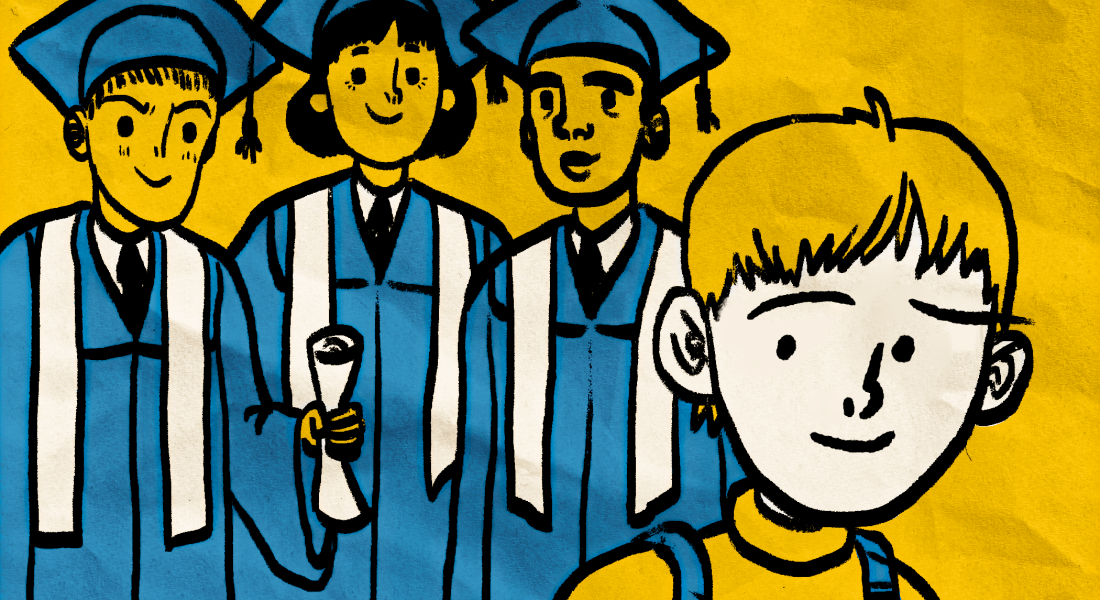 Three graduates looking at one student