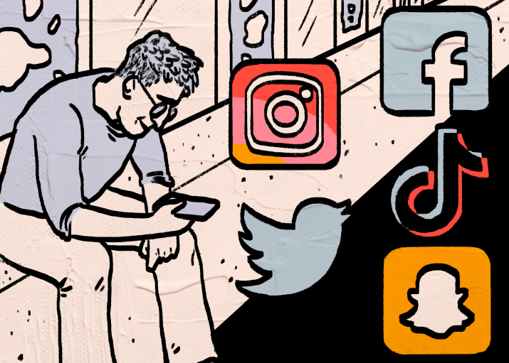 A drawing of a relaxed person checking social media on their phone.