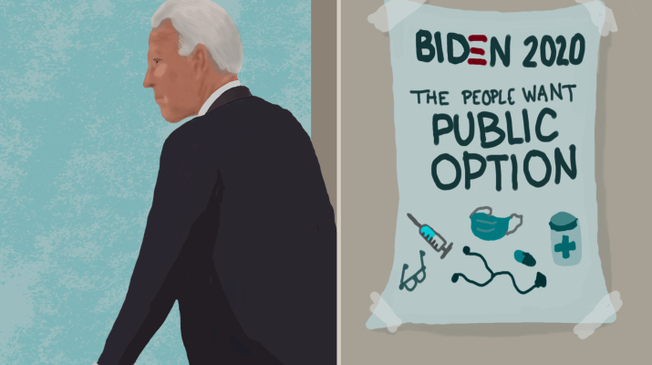 A drawing of Joe Biden walking past a campaign poster advocating for Public Option.