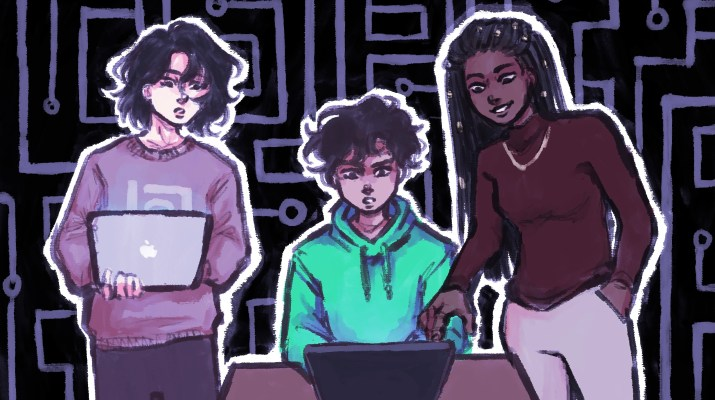 Drawing of students working with computers
