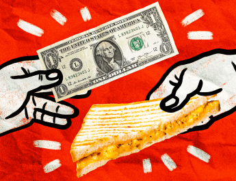 Drawing of a mac and cheese sandwich being exchanged for a dollar bill