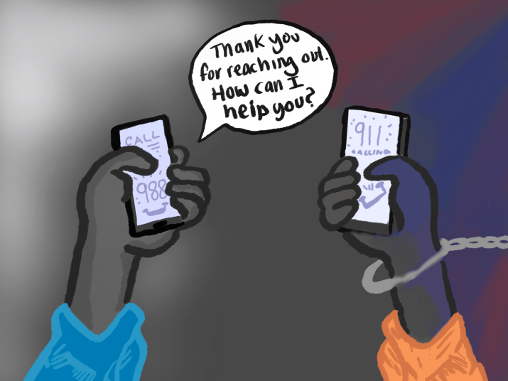 Drawing of two hands holding phones - one calling 988 and the other calling 911