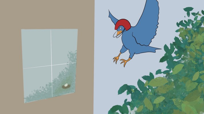 Drawing of a bird with a helmet about to crash into a window