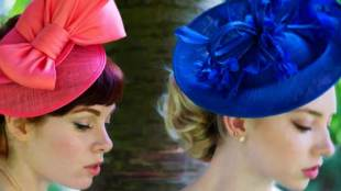Coral-Bow-Fascinator-by-Vixen-Milinery-and-Royal-Blue-Disk-by-Nigel-Raymentlong