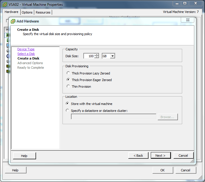Add another hard disk to the VSA - Thick provisioned Eager Zeroed