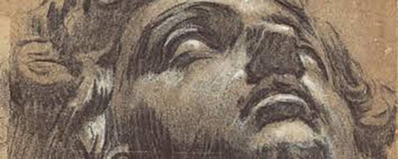 Tintoretto, sketch of the head of Giuliano de Medici by Michelangelo