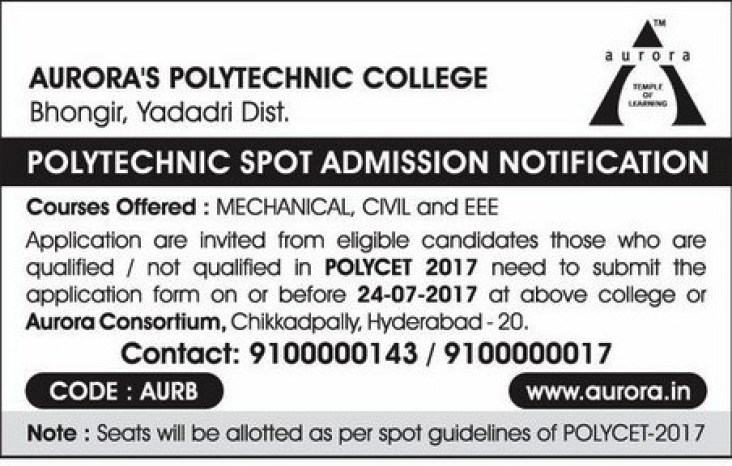 TS POLYCET 2017 Spot Admission Notification by Aurora