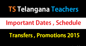 Important Dates - TS Teachers transfers, promotion counselling dates