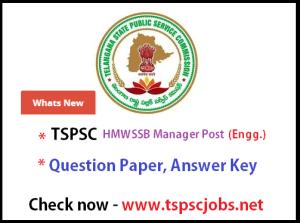 tspsc hmwssb manager 2015 key